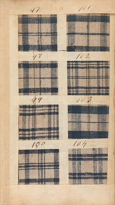 1771 British Sample Book - traveled from Liverpool to New York City with Captain Nicholson on the brigantine Havannah. Its five hundred swatches, made by the Manchester manufacturing firm of Benjamin and John Bower, represent the type of inexpensive cloth mixtures of linen and cotton- MET 156.4T31