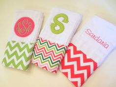 Baby Shower Gift Set of 3 Chevron Personalized by Homemade4Hannah, $26.00