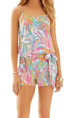 Lilly Pulitzer Deanna Tank Top Romper in Scuba to Cuba