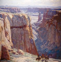 Blue Canyon -- oil painting 34 x 34 inches by Edgar Payne after 1929