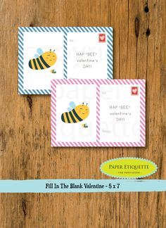 Kid Valentine's Day Cards  Hipster Valentine Bee by PaperEtiquette