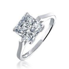 Princess Cut Diamond CZ Solitaire Engagement Ring