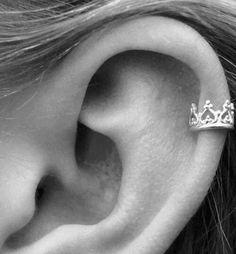 brinco, cartilagem, coracao, coroa, orelha, piercing