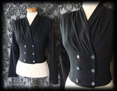 Gothic Black Double Breasted Fitted WOEFUL Military Cardigan Top 10 12 Vintage - £24.00