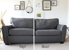 Get an (almost) brand new couch with these simple steps to stuffing your sofa. Freshen it up with foam  and fibre fill with these easy steps!