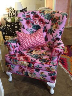 Floral wing back chair.. reading chair.. office chair... tea chair