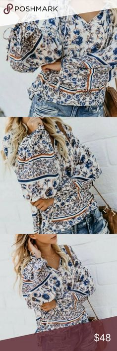 9763890130a New Bohemian Floral Print Long Sleeve Blouse Top We just love this beautiful  Boutique Blouse.