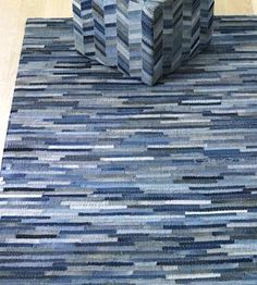 blue jean rug with stitched pieces