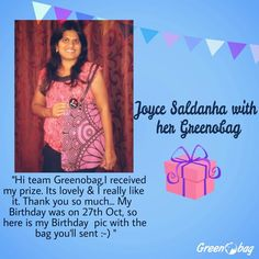 Joyce our #makegoodprevialoverevil #contest winner with her #GreenoBag #doingmybit #congratulations