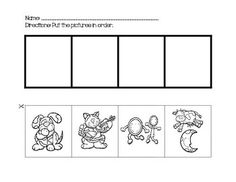 These cards can be used to sequence events in the Nursery Rhyme Hey Diddle Diddle. Set includes both black and white and color cards. Rhyming Preschool, Nursery Rhymes Preschool, Sequencing Activities, Preschool Lessons, Phonics, Preschool Activities, Hey Diddle Diddle, Sequencing Cards, Story Sequencing