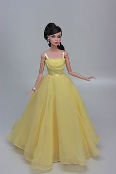 Poppy is modeling a lovely yellow silk chiffon gown
