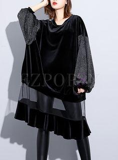 Long Sleeve Mesh Splicing Loose Midi Dress - Women's style: Patterns of sustainability Muslim Fashion, Hijab Fashion, Fashion Dresses, Dress Design Sketches, Fashion Sketches, Dress Designs, Mode Kimono, Merian, Look Fashion
