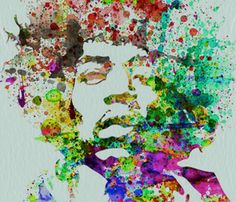 Naxart 'Hendrix Watercolor' Graphic Art Print on Canvas Size: Jimi Hendrix, Caricatures, Watercolor Print, Watercolor Paintings, Music Painting, Watercolor Artists, Watercolours, Illustrations, Illustration Art