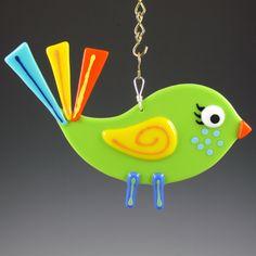 Bird Suncatcher Fused Glass - Lime 2 (107)