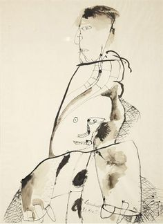 Artwork by Lucebert, Two Figures, Made of Ink and ink wash on paper