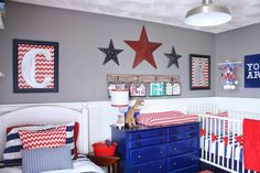Trendy Kids Room Ideas For Boys Toddler Bedrooms Apartment Therapy Ideas Boy Toddler Bedroom, Baby Boy Rooms, Bedroom Red, Boys Bedroom Decor, Americana Bedroom, Shared Boys Rooms, Kids Rooms, Blue Rooms, Apartment Therapy