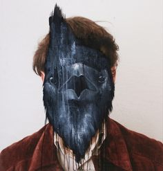 French artist Charlotte Caron makes very interesting paintings. For the works, a combination of photography and painting, she paints animal heads looking like some sort of masks over the faces of photo-portraits that she takes herself. Animal Masks, Animal Heads, Charlotte Caron, Exquisite Corpse, Human Body Art, Human Head, French Artists, Animal Paintings, Pet Portraits