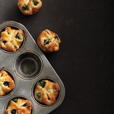 Serve these little spinach pies         with a main course as your vegetable side         and dinner roll in one, or eat a couple for         a vegetarian dinner—they're that good.