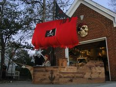 8 foot wooden pirate ship built for Halloween party! Pirate Decor, Pirate Theme, Pirate Party, Halloween Party, Halloween Ideas, Pirates, Mermaid, Pumpkin, Invitations