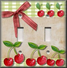 Light Switch Plate Cover Country Kitchen Cherries Home Decor Cherry Decor