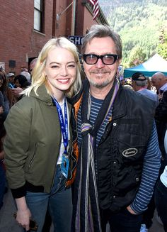 Emma Stone and Gary Oldman attend the Telluride Film Festival 2017 on September 2, 2017 in Telluride, Colorado.
