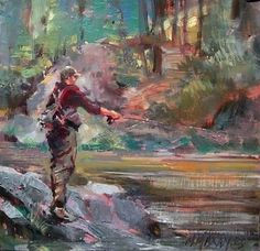 "Fall Fishing II by Mary Maxam Oil ~ 9"" x 9"""