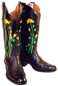 Floral Tooled Custom Made Leather Boot Mercedes Boot Co Ben Wheeler Texas