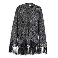 Jinxleton Fringed Cardigan Mid Grey Fringe Cardigan, Knitwear, Fur Coat, Bohemian, Grey, Sweaters, Jackets, Stuff To Buy, Black