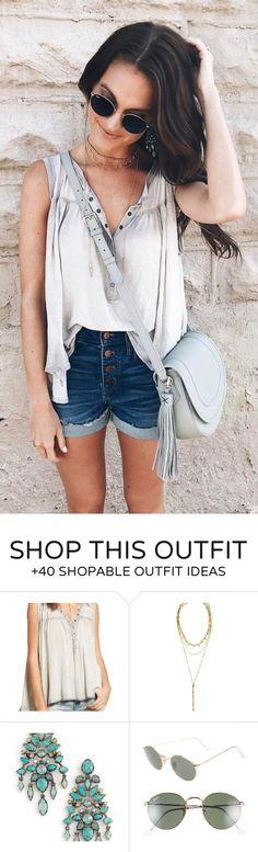 #summer #outfits  White Blouse   Navy Denim Shoer   Grey Leather Shoulder Bag  🙌🏻💗