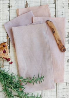 100% linen napkins dyed with red cabbage and madder root