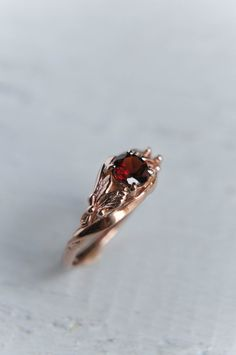 Rose gold engagement ring unique engagement ring by TheManerovs