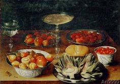 Osias Beert der Ältere - Still life with artichokes, fruits and glass goblets