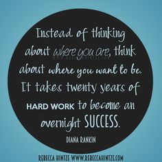 Instead of #thinking about where you are, think about where you want to be. It takes twenty years of hard #work to become an overnight #success. Diana Rankin #quote #motivation #Motivational #motivationmonday #successquote #successful #work #truth #wordsofwisdom #RebeccaHintze #dōTERRA #wellness #ShareGoodness