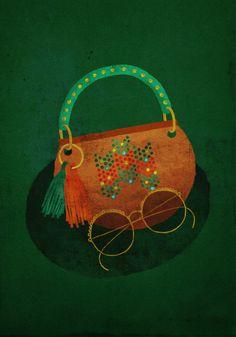 illustration bag sac style lunettes