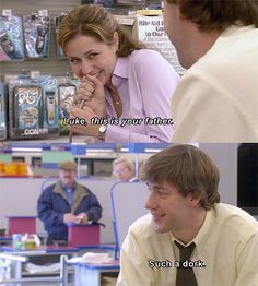 """Jim Halpert will never even CALL you a dork because LIFE IS UNFAIR and The Office is evil for making all men pale in comparison to Jim Halpert. 23 Reasons """"The Office"""" Is The Worst Show Of All Time Pam The Office, The Office Show, Office Tv, The Office Season 3, Office Ideas, Best Tv, The Best, Couple Goals Tumblr, Jim Pam"""