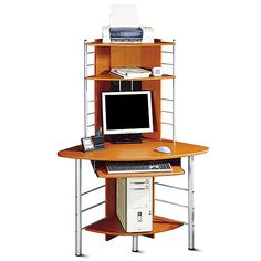 Corner Tower Computer Desk, Honey Pine and Silver price 109  45.0 x 26.0 x 63.0
