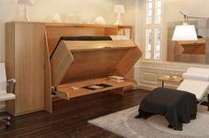 Grâce à son mouvement unique, le lit bascule sur le plan de travail sans qu'il soit nécessaire de ranger le matériel qui s'y trouve. (Photo gracieuseté G Module Concept)