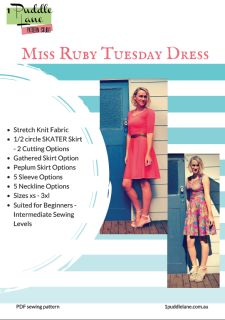 MiSS RUBY TUESDAY DRESS - will be your GOTO dress for summer or winter, night or day.  It's a stretch knit dress - so that means - NO ZIPS!    A truly beautiful dress to sew and wear but with so many options - you will produce a different dress each time you sew it.  What Options You'll Get -  1/2 circle skirt - 2 sewing options Gathered skirt Peplum skirt - 1/2 circle and gathered option V neckline Scoop Neckline Boat neckline and a combo of the above necklines Sleeveless Cap sleeve Short…