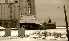 The S.S. Edmund Fitzgerald. She now lays split in two on the bottom of Lake Superior, after having been overcome by raging seas during a most severe storm not far from Whitefish Bay, Canada on November 10, 1975.