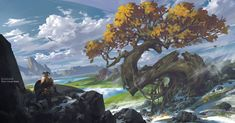 ArtStation - The sky, trees, hills, stone, G liulian