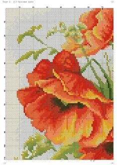"ru / Фото ""Cross stitch - flowers: Poppies (free pattern - chart - part"" Cross Stitch Boards, Cross Stitch Love, Cross Stitch Pictures, Cross Stitch Flowers, Cross Stitch Designs, Cross Stitch Patterns, Needlepoint Patterns, Embroidery Patterns, Cross Stitching"