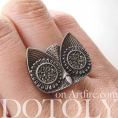 $10 Adjustable Owl Animal Ring in Silver with Rhinestone detail