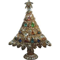 Large Stand-Up Crystal & Rhinestone Christmas Tree Pin from under-on-by-the-sea on Ruby Lane