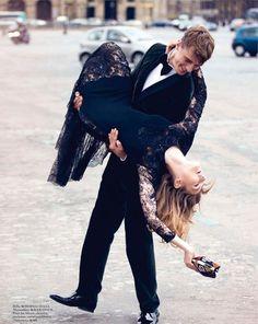Hana Jirickova & Clement Chabernaud by David Bellemere. Vogue Paris, September 2013.