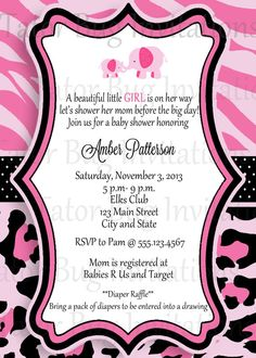 Personalized Pink Safari Baby Shower Invitation