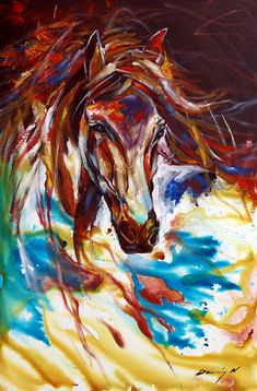 Horse Painting Equine Abtract Original by DennisFineArt on Etsy