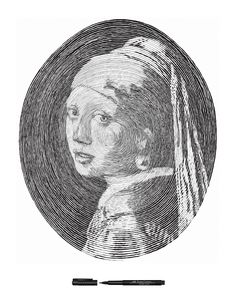 Ringed Portrait - Girl With a Pearl Earring by Chan Hwee Chong: Drawn with a Faber Castell PITT  Artist pen using a single continuous line. #Faber_Castell #Girl_With_A_Pearl_Earring #Chan_Hwee_Chong