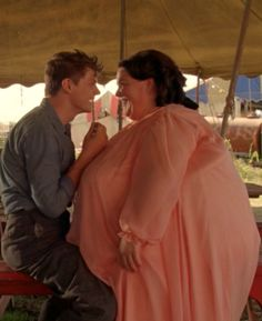 Freaky Romance. Jimmy Darling flirting with Ima Wiggles in AHS Freak Show. Evan Peters & Chrissy Metz