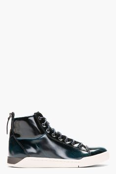 02fbaf0d845 Diesel Deep Green Patent Brushed Diamond High top Sneakers Diesel Shoes