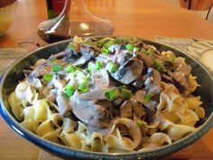 From Best Thing I Ever Made: Alton Brown mushroom stroganoff with goat cheese...